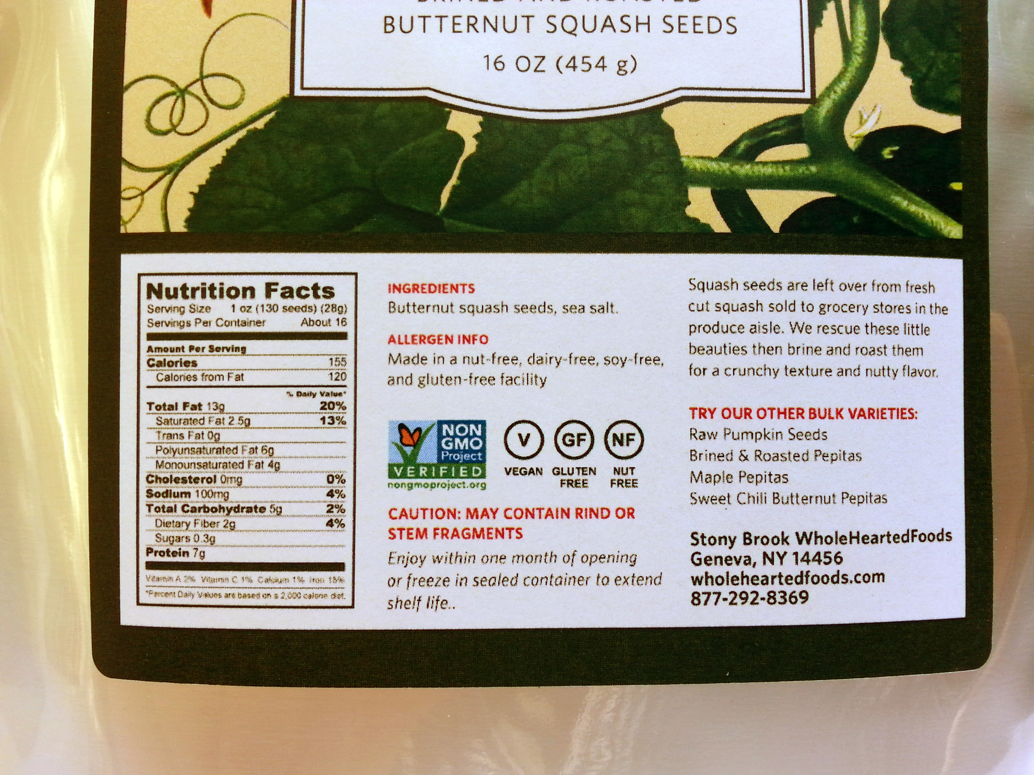 Butternut Pepitas 1 lb label, back